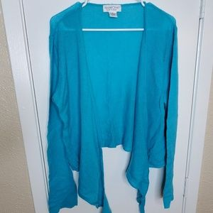 Turquoise Cashmere Tie Front Sweater